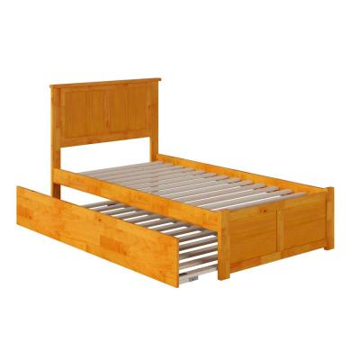 Madison Twin Extra Long Bed with Footboard and Twin Extra Long Trundle in Caramel