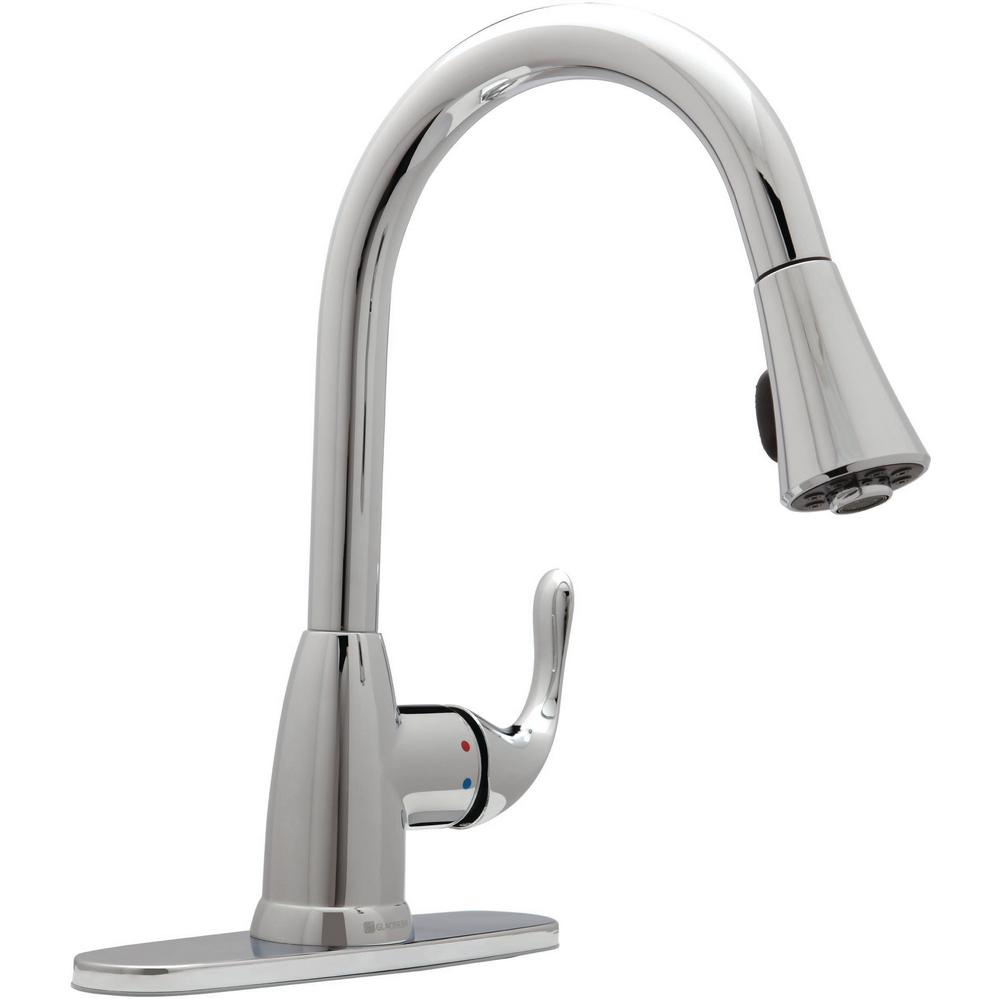 Glacier Bay Market Single Handle Pull Down Sprayer Kitchen Faucet In Chrome Hd67551 1201 The Home Depot