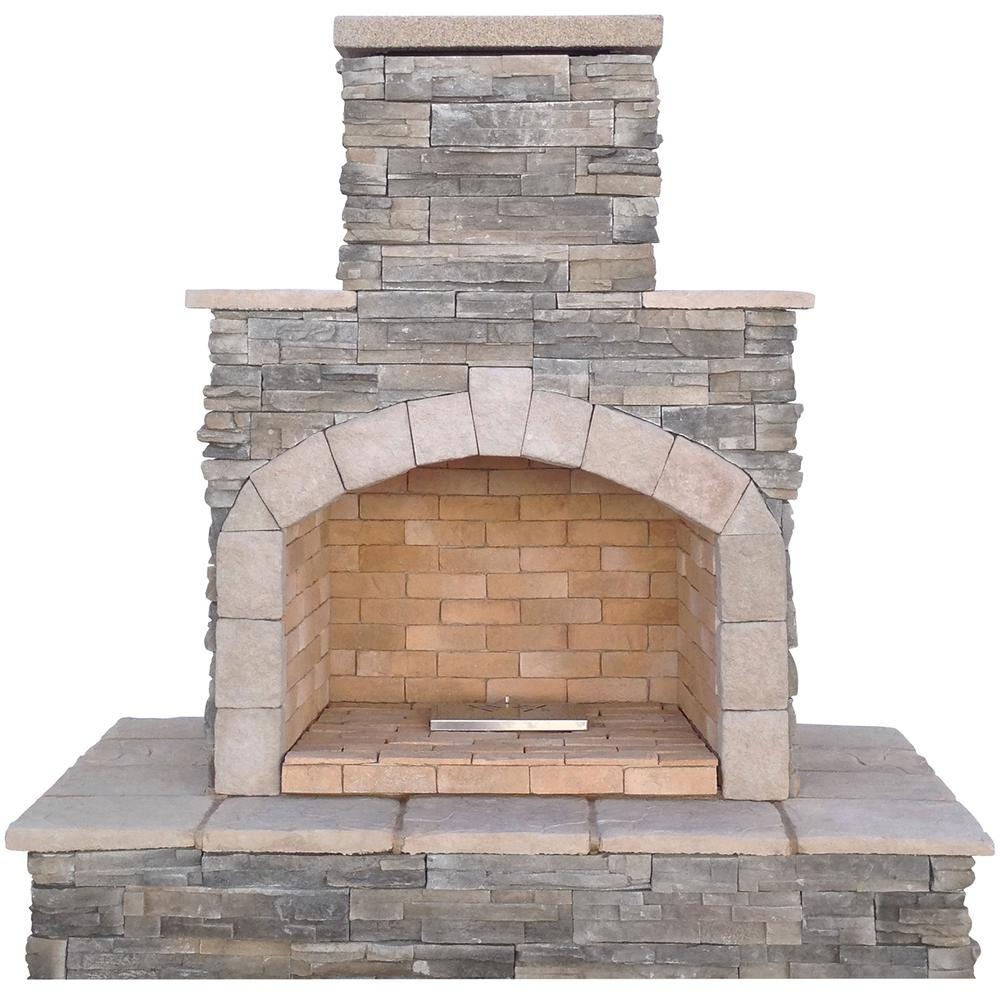 Cal flame 78 in gray natural stone propane gas outdoor for Firerock fireplaces