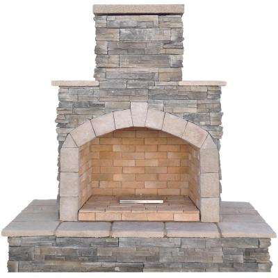 Gray Natural Stone Propane Gas Outdoor Fireplace