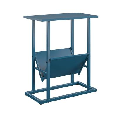 Regal 23.5 in. Blue End Table with Magazine Rack