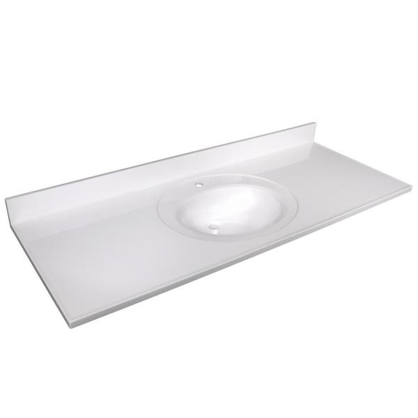 61 in. Single Faucet Hole Cultured Marble Vanity Top with White on White Basin