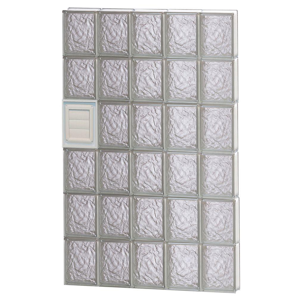 Clearly Secure 28.75 in. x 46.5 in. x 3.125 in. Frameless Ice Pattern Glass Block Window with Dryer Vent