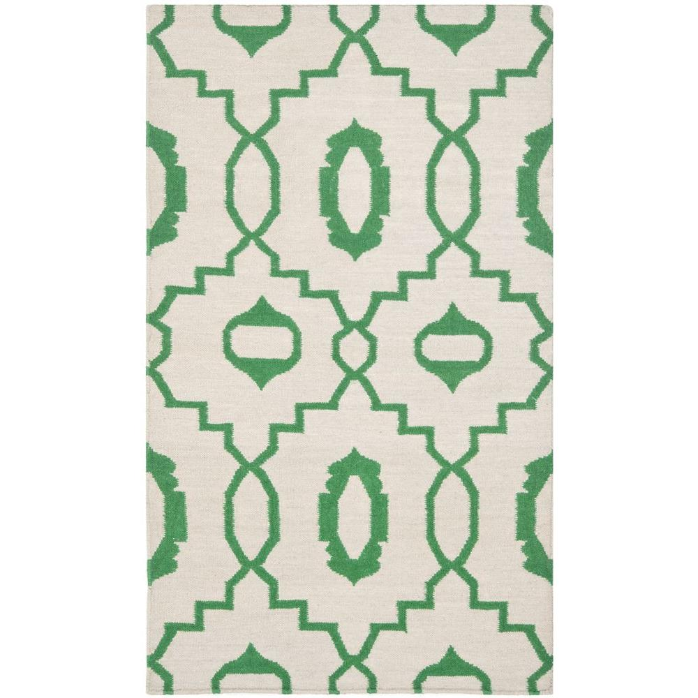 Dhurries Ivory/Green 3 ft. x 5 ft. Area Rug