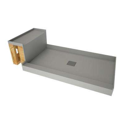 34 in. x 72 in. Single Threshold Shower Base in Gray and Bench Kit with Center Drain