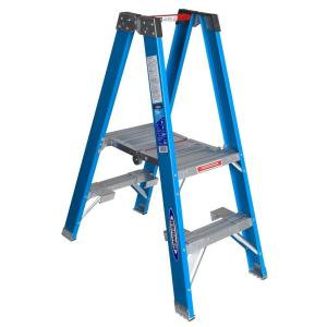 9 ft. Reach Fiberglass Platform Twin Step Ladder with 250 lb. Load Capacity Type I Duty Rating