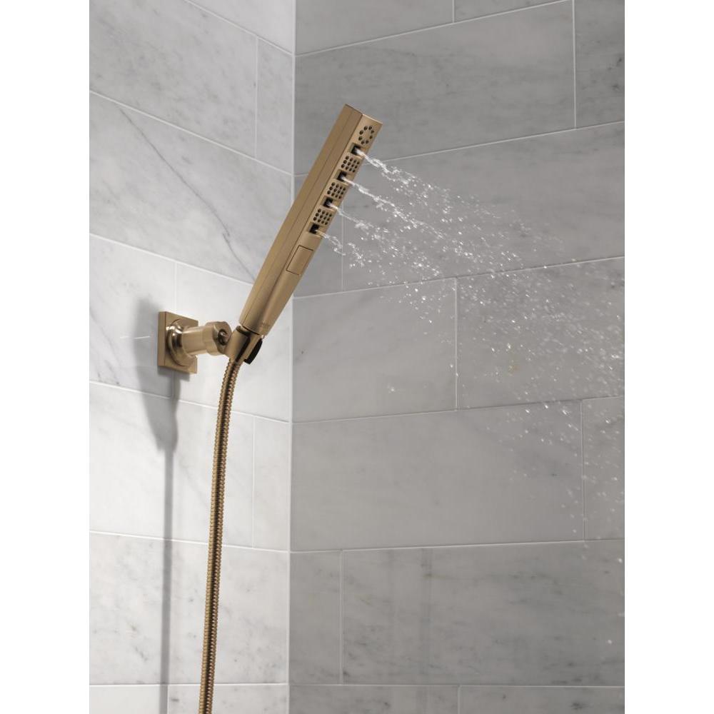 Zura 5-Spray 1.3 in. Single Wall Mount Handheld H2Okinetic Shower Head in Champagne Bronze