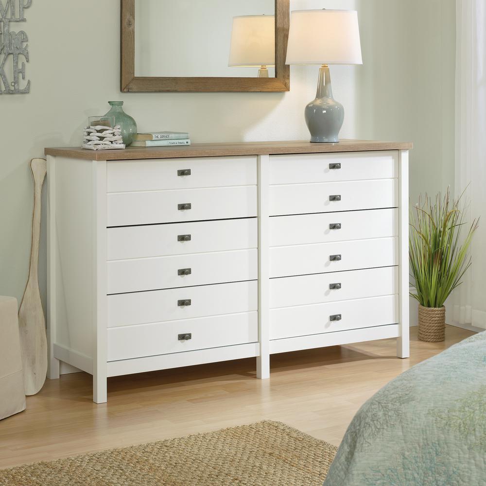 SAUDER Cottage Road 6-Drawer Soft White Dresser