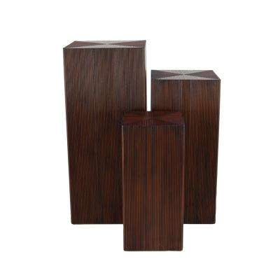 Rustic Brown Wood Pedestal Tables (Set of 3)