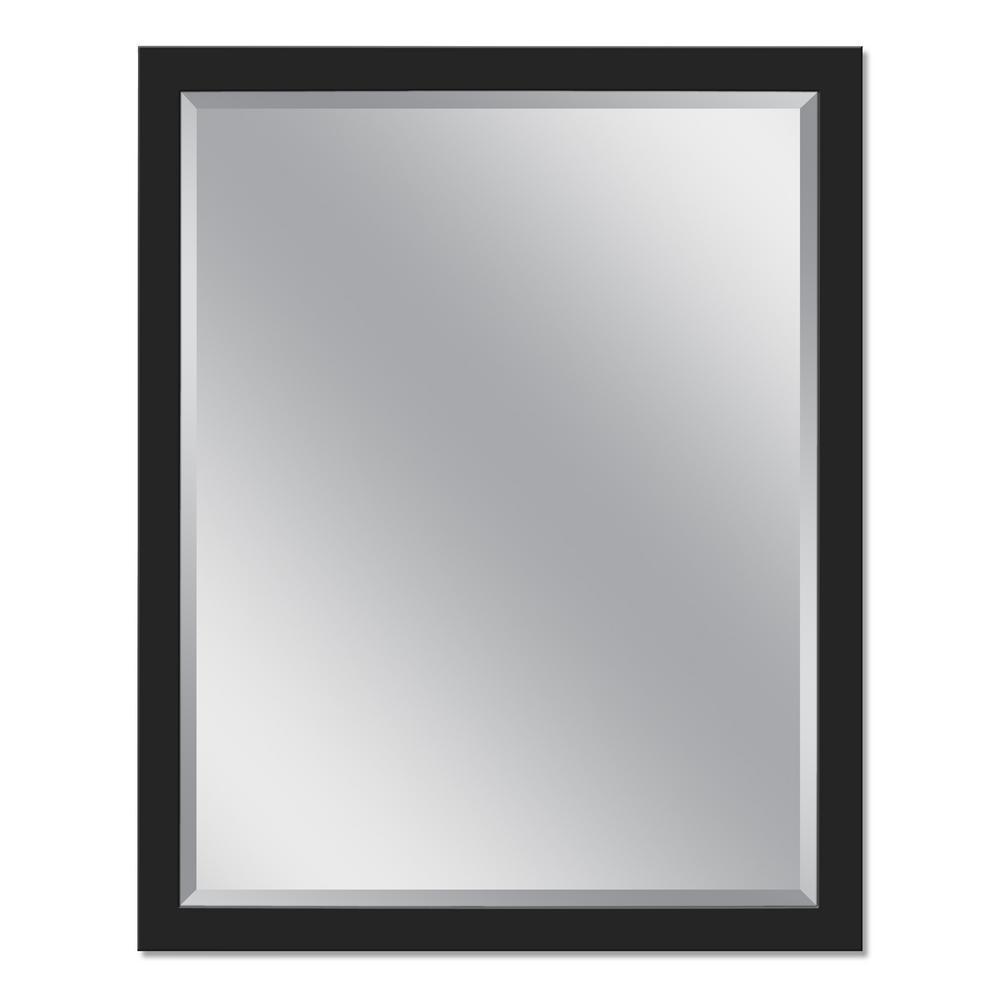 Stainless Steel 24 in. x 30 in. Single Framed Wall Mirror in Matte Black