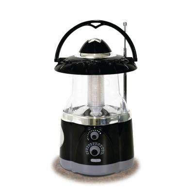 12-LED Black Battery Operated Multifunction Radio Lantern (2-Pack)