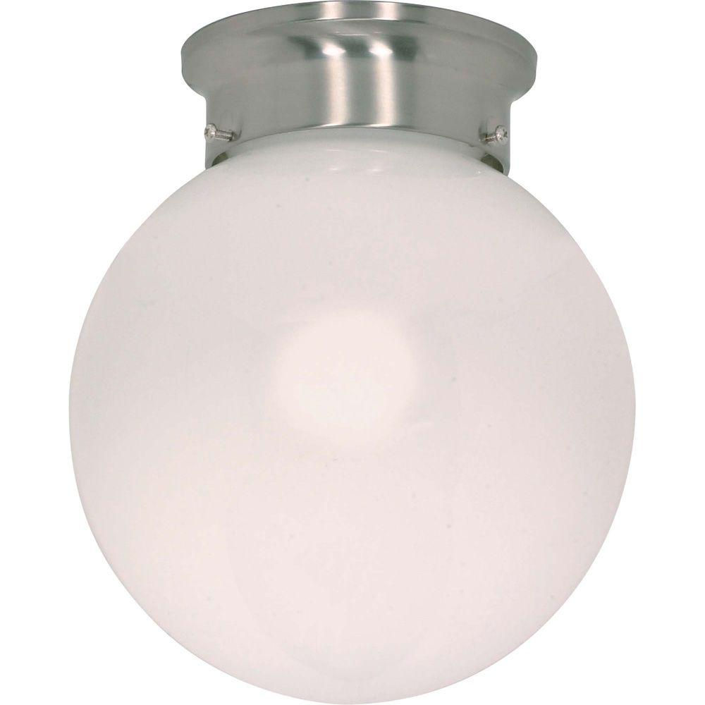 Glomar 1-Light Brushed Nickel 8 in. Ceiling Mount White Ball