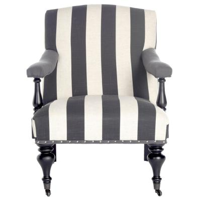 Devona Charcoal and White Polyester/Linen Arm Chair