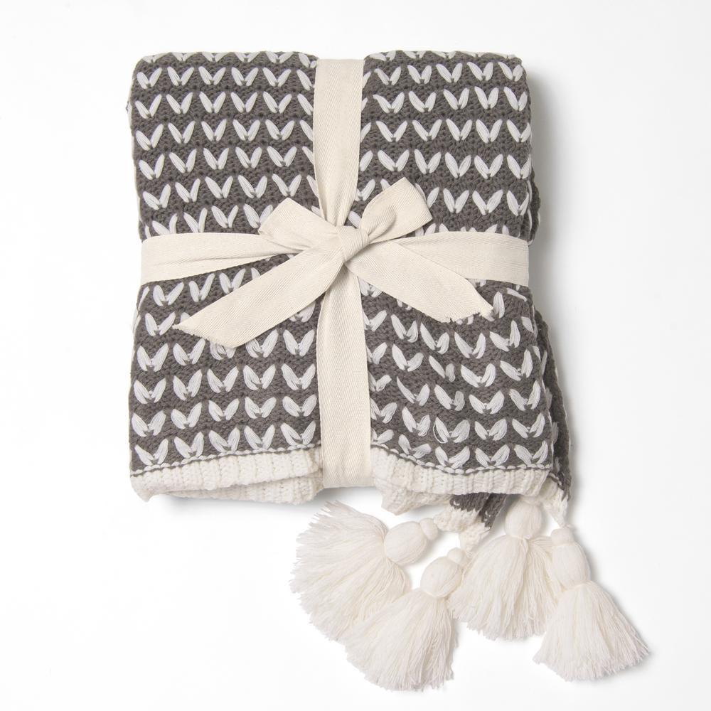 Black Braid Pattern Knit Tassel Throw Blanket