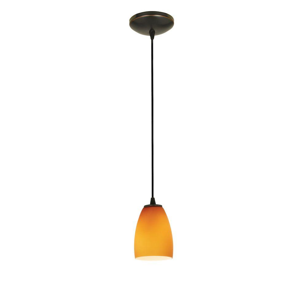 Access Lighting Sherry 1-Light Oil-Rubbed Bronze Metal Pendant with Amber Glass Shade