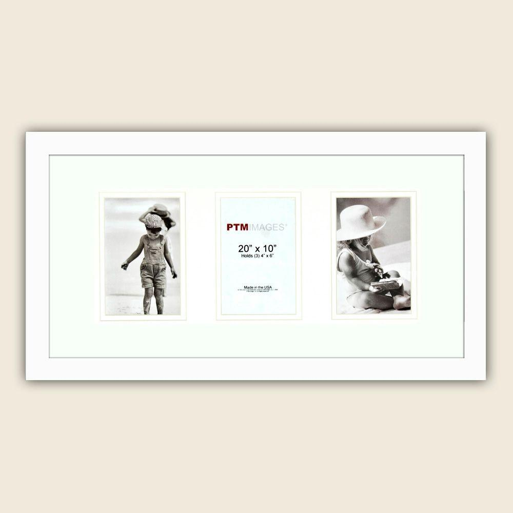 PTM Images 3-Opening 4 in. x 6 in. Matted White Photo Collage Frame (Set of 2)
