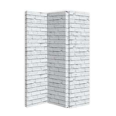 59 in. x 47.0 in. x 1.0 in. Polyester White Brick 3-Panel Free Standing Room Divider by Arthouse