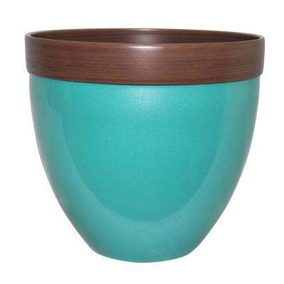 Devyn 14.5 in. Dia Baltic Aqua Resin Planter