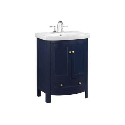 24 in. W x 19 in. D x 34 in. H dark blue Bathroom Vanity with Vitreous China Top and Basin in White