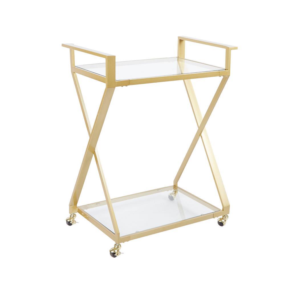 Silverwood Furniture Reimagined Regina Gold X-Frame 2-Tier Serving Cart