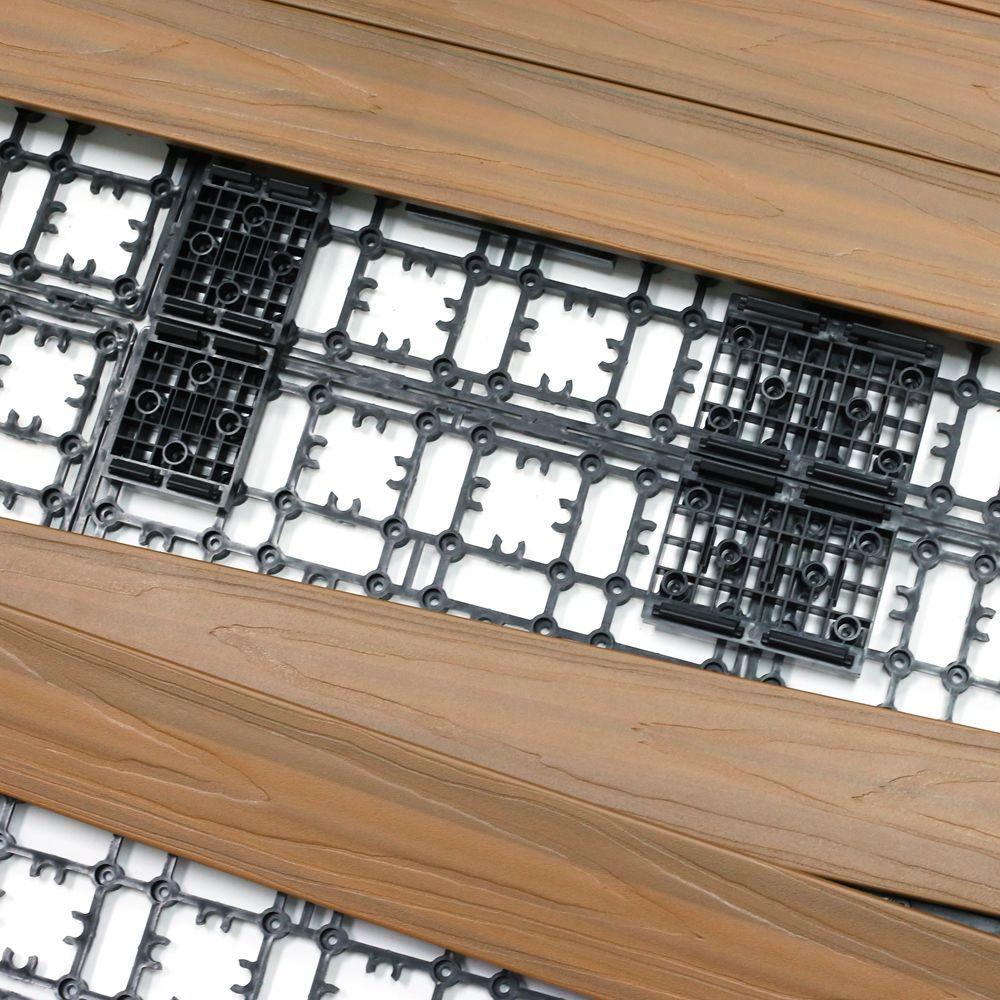 NewTechWood 4.32 sq. ft. Deck-A-Floor Premium Modular Composite Outdoor Flooring System Kit in Peruvian Teak