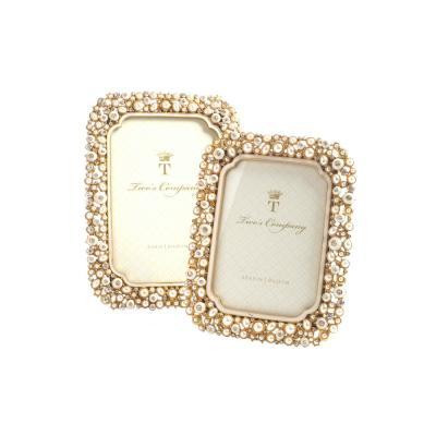 Set of 2 5in x 7in Elegance Oval Photo Picture Frame Pearl Crystal Cream