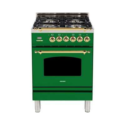 24 in. 2.4 cu. ft. Single Oven Italian Gas Range with True Convection, 4 Burners, LP Gas, Brass Trim in Emerald Green