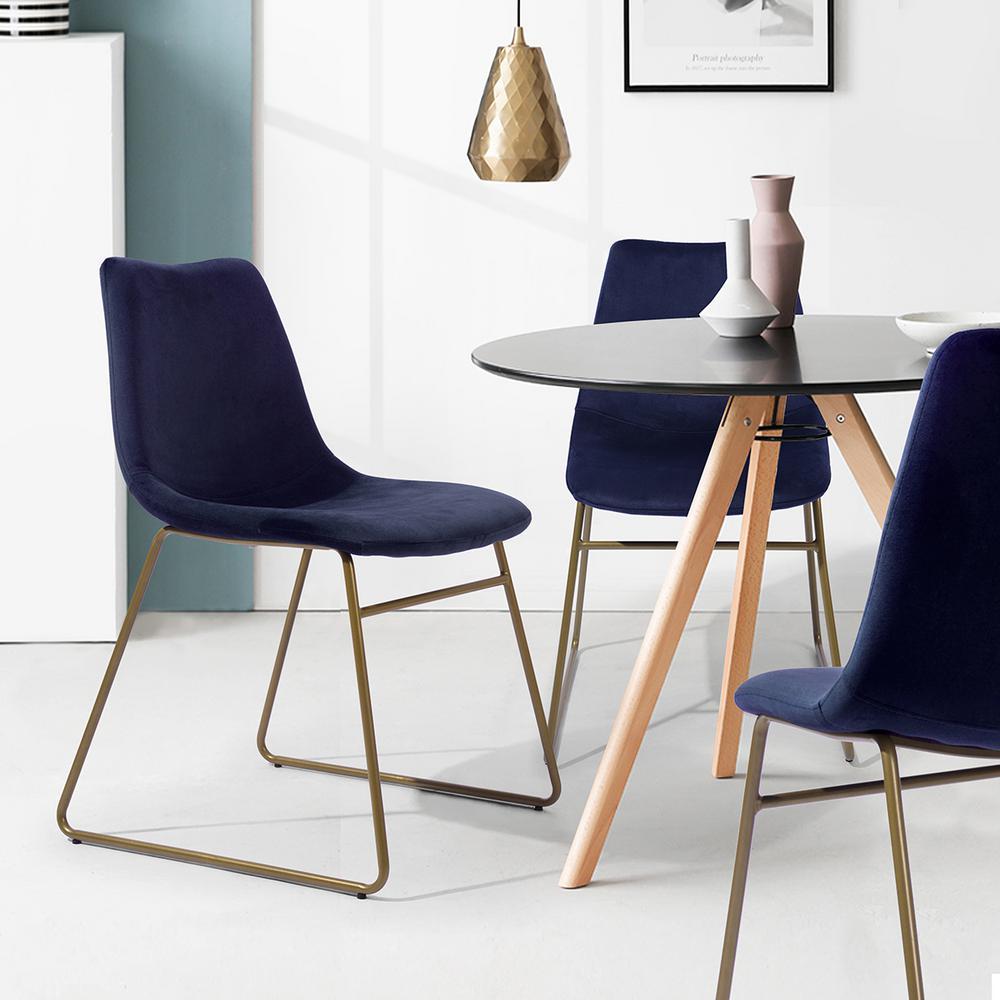 Peachy Furniturer Batassel Dark Blue Velvet Elegant Dining Chairs Ibusinesslaw Wood Chair Design Ideas Ibusinesslaworg