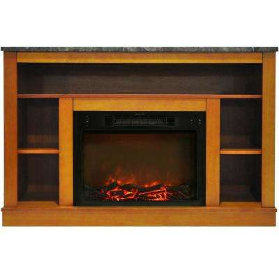 Oxford 47 in. Electric Fireplace with 1500-Watt Charred Log Insert and A/V Storage Mantel in Teak