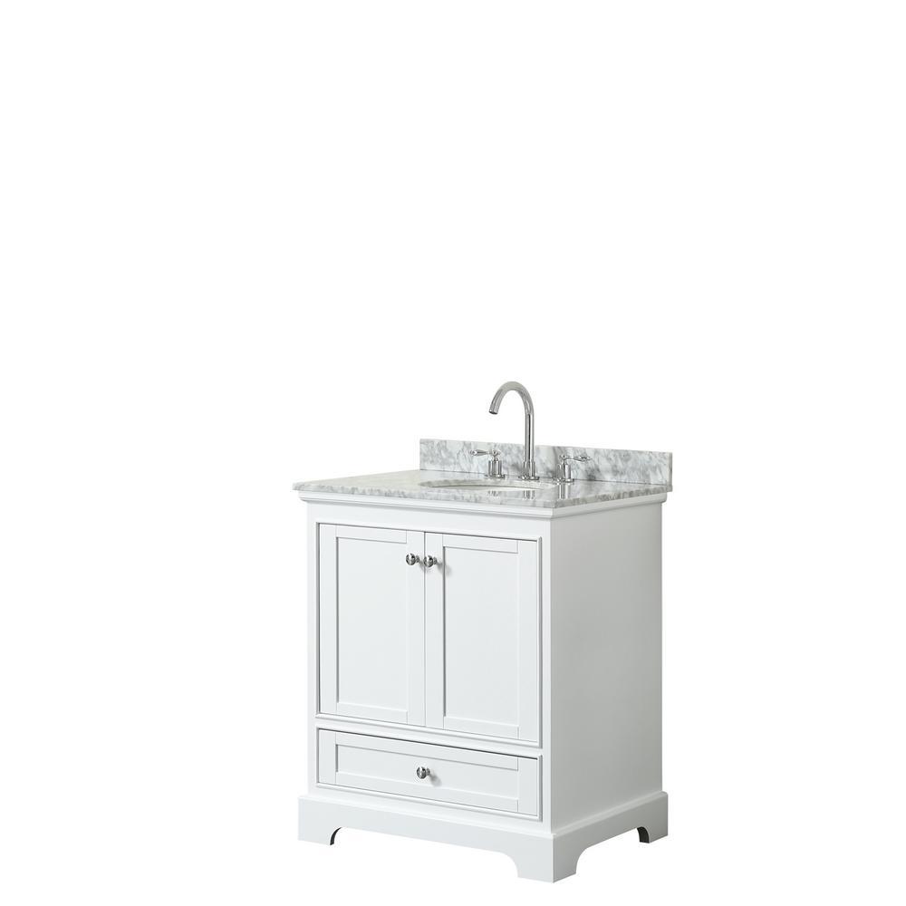 Deborah 30 in. Single Bathroom Vanity in White with Marble Vanity Top in White Carrara with White Basin