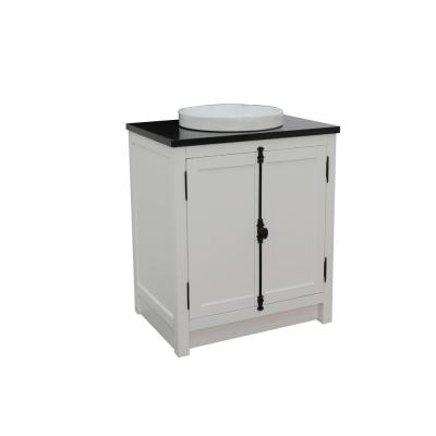 Plantation 31 in. W x 22 in. D Bath Vanity in White with Granite Vanity Top in Black with White Round Basin