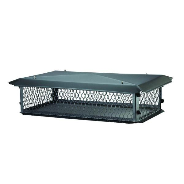 34 in. x 14 in. x 8 in. H Chimney Cap in Black Galvanized Steel