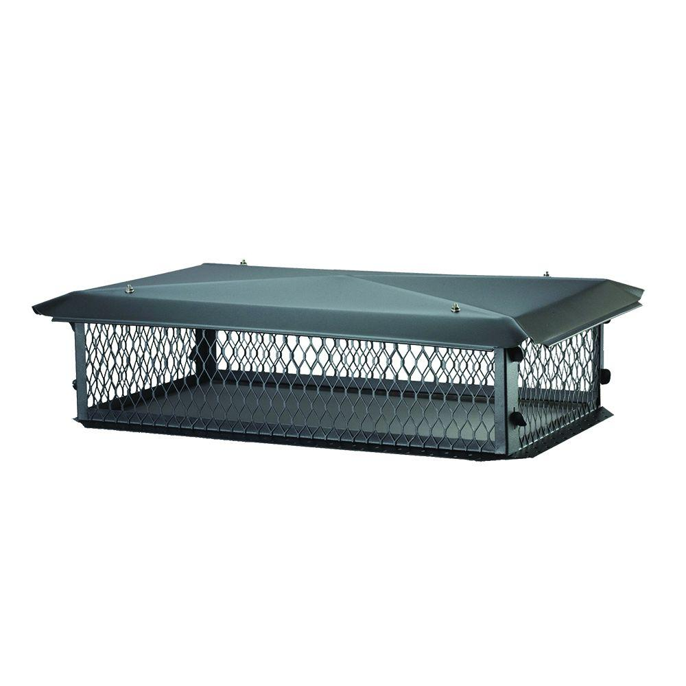 BigTop 41 in. x 17 in. x 8 in. H Chimney Cap in Black Galvanized Steel