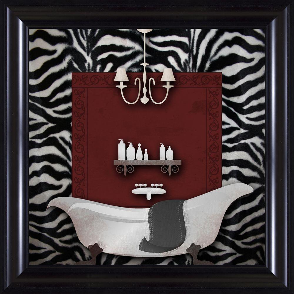 """15-1/4 in. x 15-1/4 in. """"Zebra Bath B"""" Framed Wall Art"""
