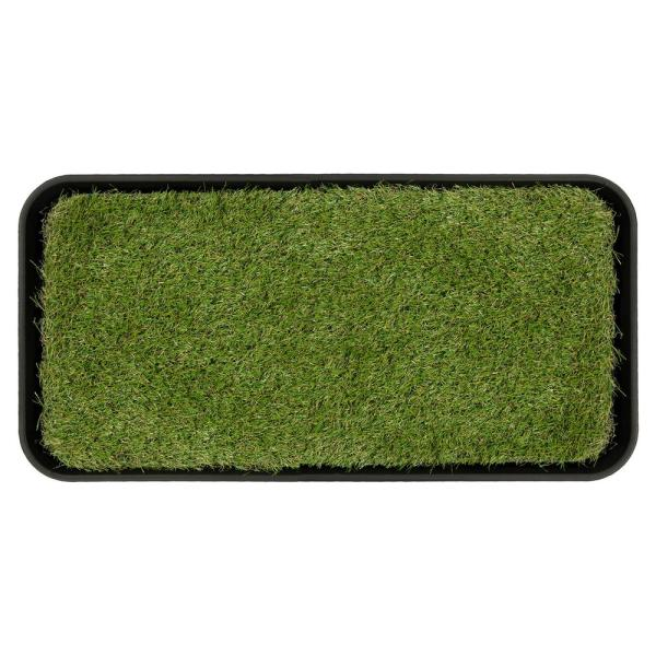 Indoor/Outdoor Black 15 in. x 30 in. Grass Pee Pad Potty Pet Training Tray