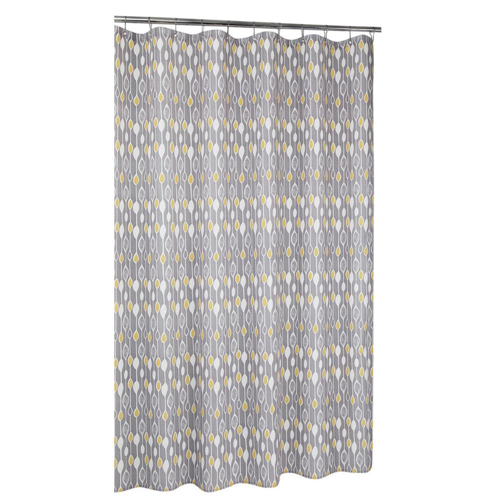 Greystone Shower Curtain Grey/Yellow 71 in. x 71 in.