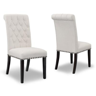 Aleki Beige Fabric Dining Chair Roll Back with Tufted Buttons and Nail Heads (Set of 2)