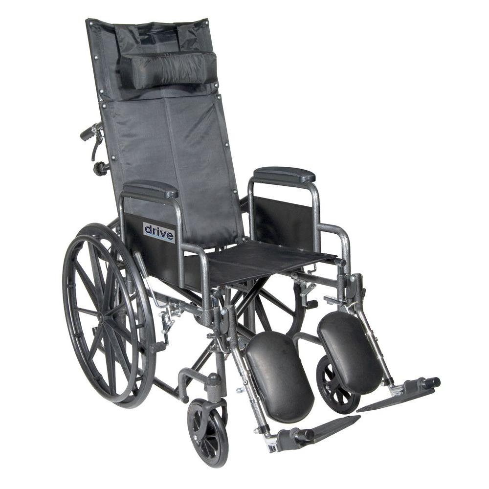Silver Sport Reclining Wheelchair with Detachable Desk Arms and Elevating Leg