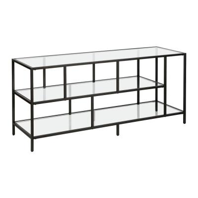 Winthrop in Blackened Bronze Finish with Glass Shelves TV Stand
