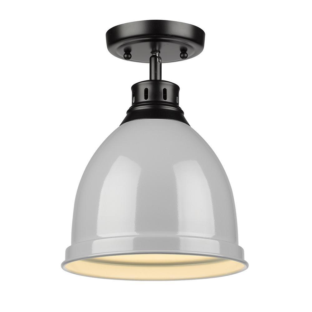 Golden Lighting Duncan Collection 1-Light Black Flush Mount with Gray Shade