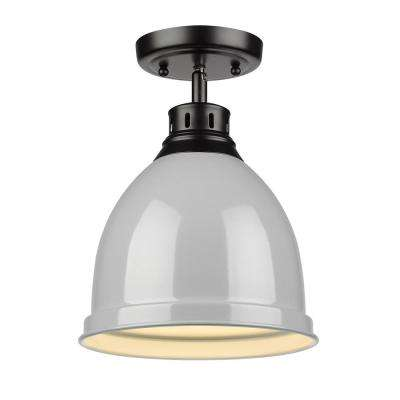 Duncan Collection 1-Light Black Flush Mount with Gray Shade