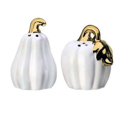 Season Pumpkin 1.5 oz. White Ceramic Salt and Pepper Shakers with Figural Shapes