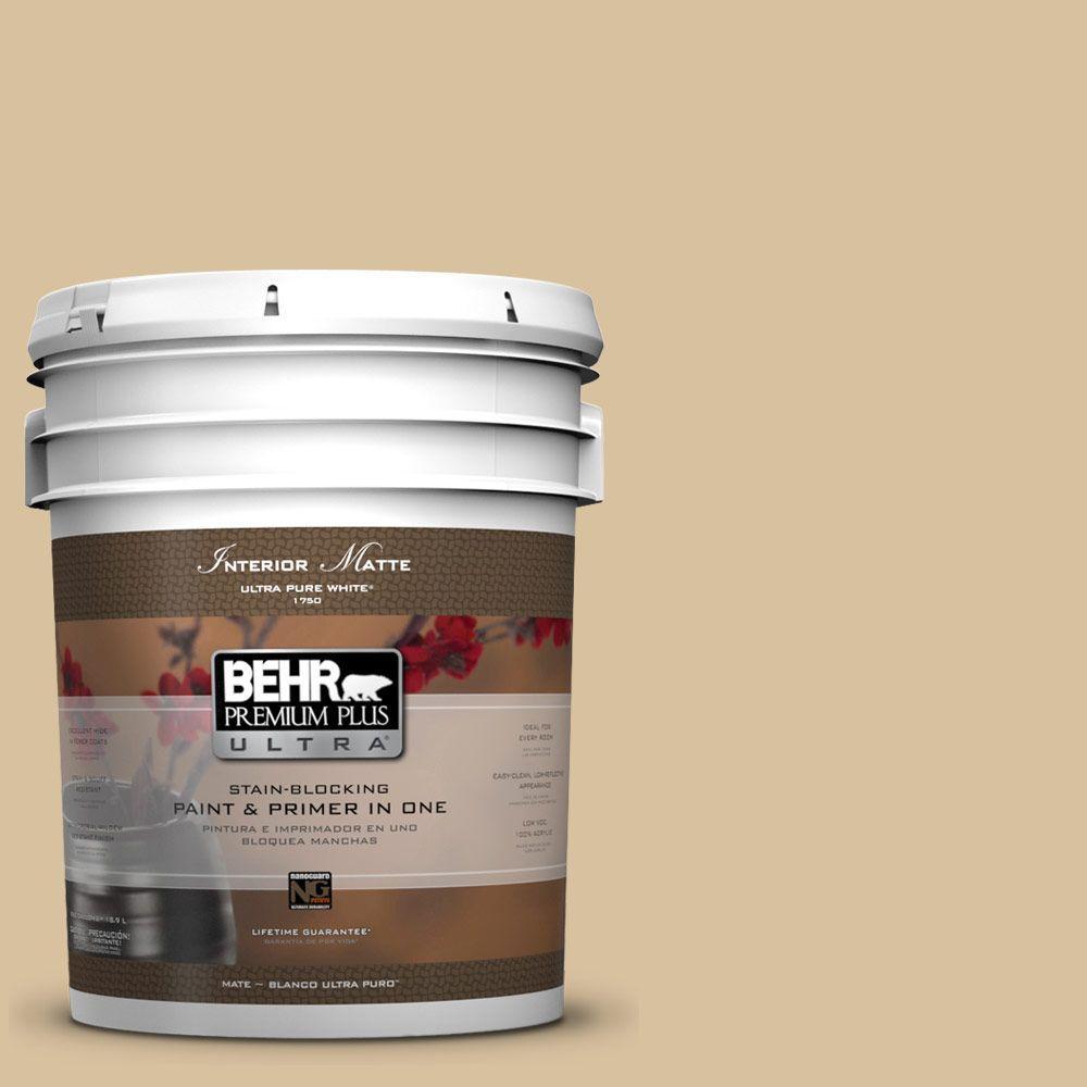 BEHR Premium Plus Ultra 5 gal. #UL160-7 Pale Wheat Flat/Matte Interior Paint