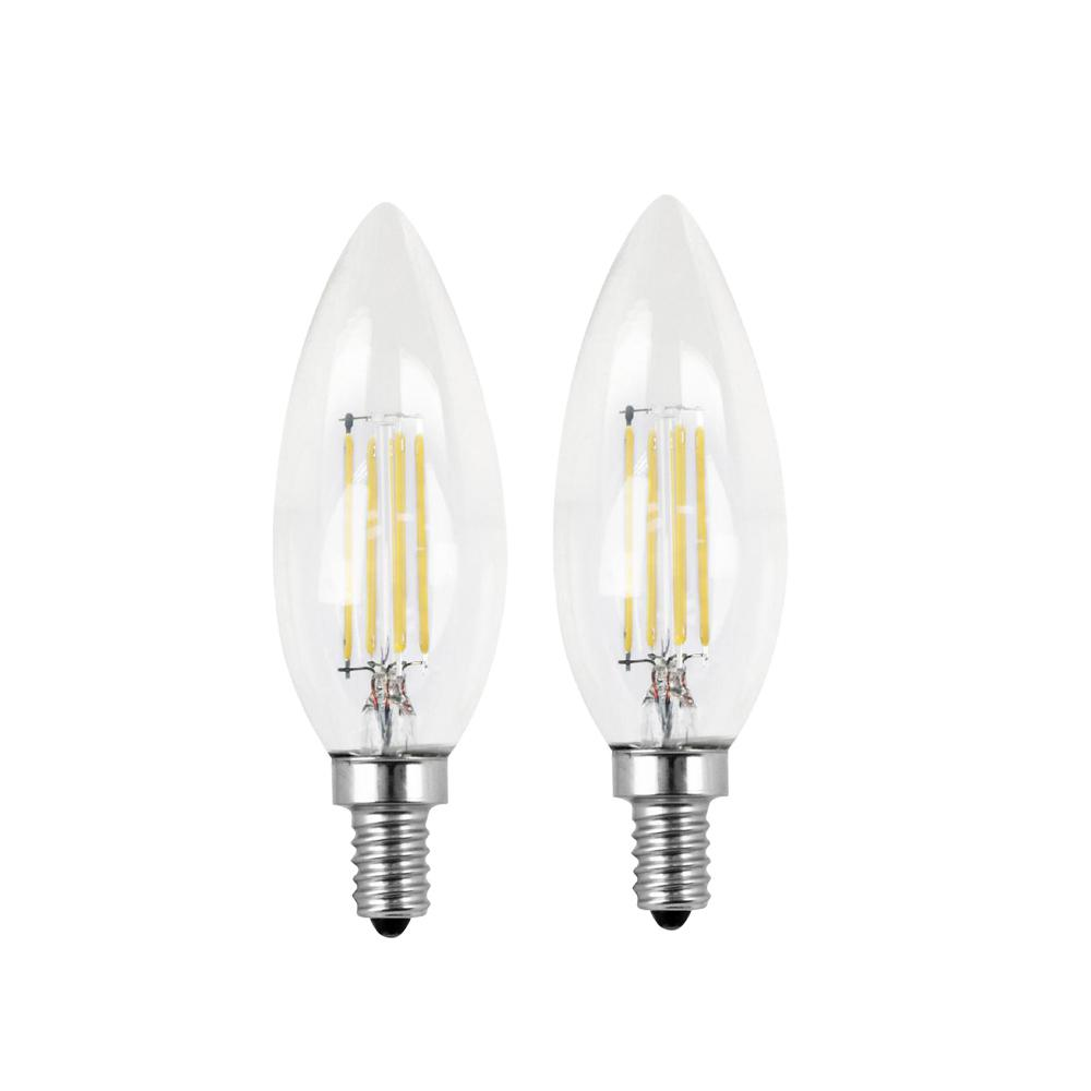60W Equivalent Daylight (5000K) B10 Candelabra Dimmable Filament LED Clear Glass