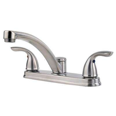 Delton 2-Handle Standard Kitchen Faucet in Stainless Steel