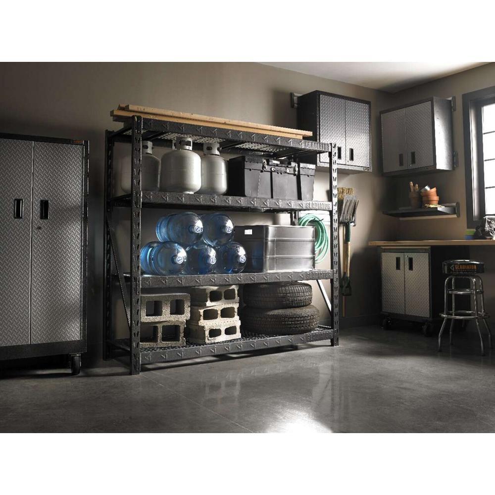 Gladiator 4 Tier Welded Steel Garage Storage Shelving Unit 77 In W X 72 In H X 24 In D Gars774xeg The Home Depot