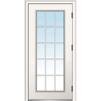 32 in. x 80 in. Classic Left-Hand Outswing 15 Lite Clear Low-E Primed Steel Prehung Front Door with Brickmould