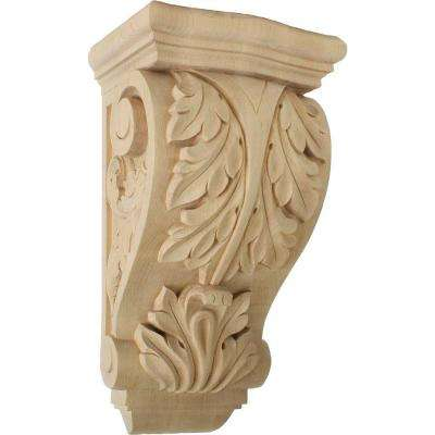 8 in. x 6-1/2 in. x 15 in. Unfinished Maple Large Farmingdale Acanthus Corbel