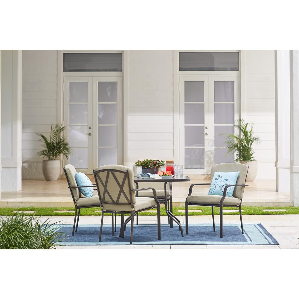 Hampton Bay Bradley 5 Piece Outdoor Dining Set With Oatmeal Cushion