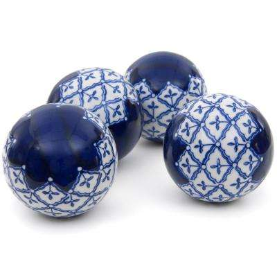 Oriental Furniture 4 in. Blue and White Medallions Porcelain Ball Set